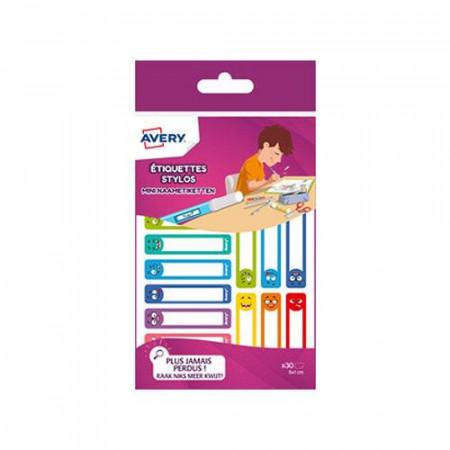 étiquettes X30 stylos smiley -50x10 mm