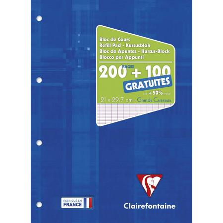 Bloc de cours grand carreaux 200 + 100 pages gratuites