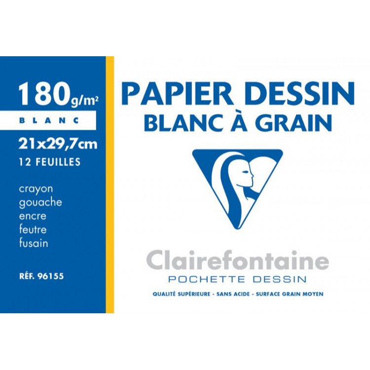 POCHETTE A DESSIN, Format A4, 21X29.7, 180GR BLANC