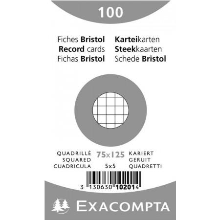 PAQUET DE 100 FEUILLES BRISTOL - 75X125 - Petits Carreaux 5X5 - BLANC