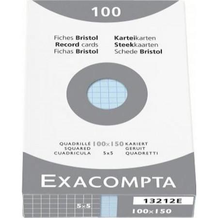 PAQUET DE 100 FEUILLES BRISTOL - 100X150 - Petits Carreaux 5X5 - BLEU