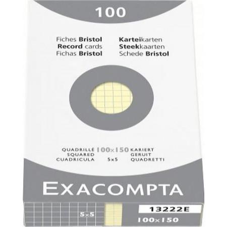 PAQUET DE 100 FEUILLES BRISTOL - 100X150 - Petits Carreaux 5X5 - JAUNE