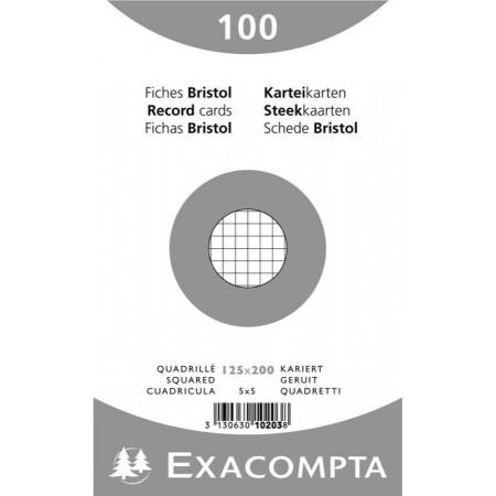 PAQUET DE 100 FEUILLES BRISTOL - 125X200 - Petits Carreaux 5X5 - BLANC