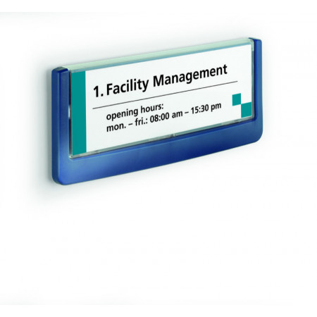 PLAQUE DE PORTE CLICKSIGN 149*52MM BLEU
