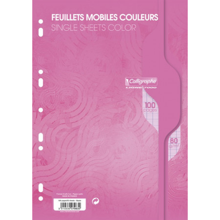 PAQUET COPIES SIMPLE PERFOREE, Format A4, Grands Carreaux, 21X29.7 - 100 PAGES SEYES ROSE
