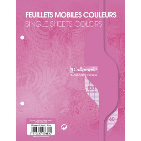 PAQUET COPIES SIMPLE PERFOREE, PETIT FORMAT, GRANDS CARREAUX, 17x22 - 100 PAGES SEYES - Rose