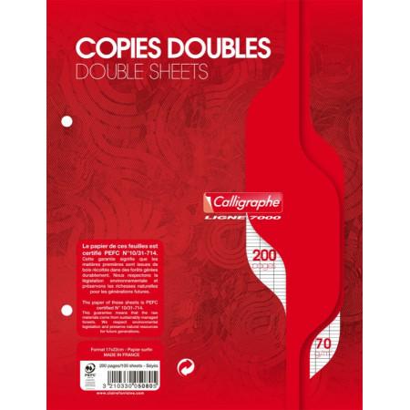 COPIE DOUBLE - Petit Format, 17X22 - Grands Carreaux SEYES - BLANC 200 PAGES